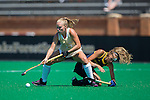 Veerle Bos (17) of the Wake Forest Demon Deacons battles for the ball with Fay Keijer (11) of the Michigan Wolverines during second half action at Kentner Stadium on August 28, 2016 in Winston-Salem, North Carolina.  The Demon Deacons defeated the Wolverines 2-0.  (Brian Westerholt/Sports On Film)