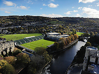 A general view of the Recreation Ground and the surrounding city of Bath from the air. Premiership Rugby Cup match, between Bath Rugby and Harlequins on October 27, 2018 at the Recreation Ground in Bath, England. Photo by: Patrick Khachfe / Onside Images