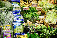 Fresh vegetables displayed in at organic grocery.
