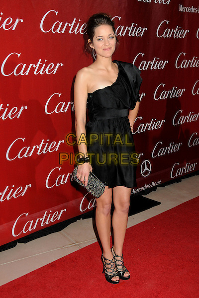 MARION COTILLARD .Palm Springs International Film Festival Awards Gala 2010 held at the Palm Springs Convention Center, Palm Springs, California, USA, .5th January 2010..full length one shoulder dress sandals open toe shoes heels platform cut out studs studded bracelet clutch bag sleeve black .CAP/ADM/BP.©Byron Purvis/AdMedia/Capital Pictures.
