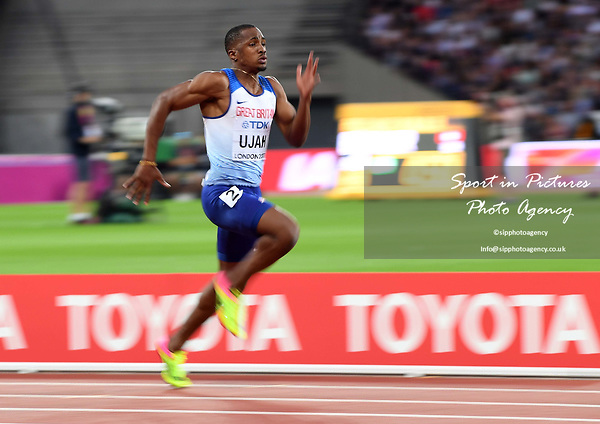 Chijindu Ujah (GBR) in the mens 100m heats. IAAF World athletics championships. London Olympic stadium. Queen Elizabeth Olympic park. Stratford. London. UK. 04/08/2017. ~ MANDATORY CREDIT Garry Bowden/SIPPA - NO UNAUTHORISED USE - +44 7837 394578