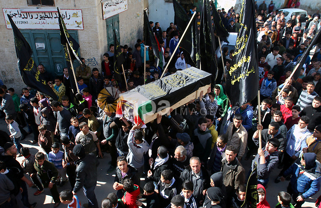 Palestinians carry the coffin of Abdulkareem Tahaina killed in 2002 by Israeli Army after his remains were returned in West Bank city of Jenin on Jan. 29 2014. Israel planed to return the bodies of 36 Palestinian militants buried in its foreign enemy graveyards, an Israeli official said. Photo by Nedal Eshtayah