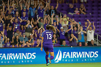 Orlando, FL - Tuesday August 08, 2017: Alex Morgan celebrates a goal during a regular season National Women's Soccer League (NWSL) match between the Orlando Pride and the Chicago Red Stars at Orlando City Stadium.