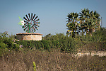 Green painted metal windmill, palm trees, Petra, Mallorca