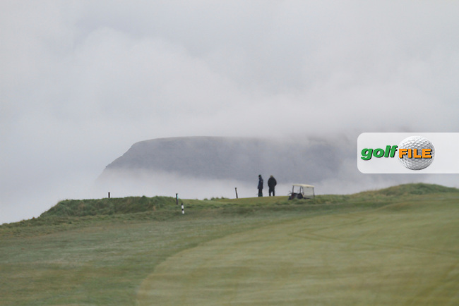 &quot;Benbulbin&quot; surrounded in fog during round 1 of The West of Ireland Amateur Open in Co. Sligo Golf Club on Friday 18th April 2014.<br /> Picture:  Thos Caffrey / www.golffile.ie