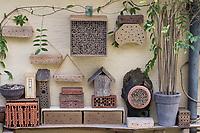 Wildbienen-Nisthilfen an Hausfassade unter einem Dachvorsprung. Schilf-Nisthilfe, Nisthilfe aus Schilf, Schilfhalm, Schilfhalmen, Wildbienen-Nisthilfe aus Holz, Längsholz, Hartholz, Wildbienen-Nisthilfe aus Strangfalzziegel, Strangfalzziegel, Tonziegel mit Hohlräumen, Biberschwanz, Dachziege, Wildbienen-Nisthilfe aus Lehm, Baulehm, Lehmputz, Lehmwand, Wildbienen-Nisthilfe aus Schneckengehäusen, Schneckengehäuse, Schneckenhaus, Schneckenhäusern, verschieden große, leere Schneckenhäuser werden in eine sandgefüllte Schale gelegt, Schnirkelschnecken, Wildbienen-Nisthilfe aus markhaltigen Stängel, Stängel, Pflanzenstängel, Stengel wie zum Beispiel Himbeere, Holunder, Beifuß, Wildbienen-Nisthilfe aus Ziegelsteine, Ziegelsteinen, Steinen, Wildbienen-Nisthilfe aus Bambus, Bambusstange, Bambusstangen, Bambus-Nisthilfe, Bambusstab, Bambusstäbe. Wildbienen-Nisthilfen, Wildbienen-Nisthilfe selbermachen, selber machen, Wildbienenhotel, Insektenhotel, Wildbienen-Hotel, Insekten-Hotel, Wildbienenstation, Wildbienen-Station