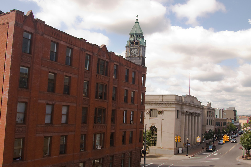 Views of Washington Street in downtown Marquette Michigan.