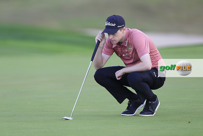 Kevin Phelan (IRL) lines up his putt on the 8th green during Saturday's Round 3 of the Portugal Masters 2015 held at the Oceanico Victoria Golf Course, Vilamoura Algarve, Portugal. 15-18th October 2015.<br /> Picture: Eoin Clarke | Golffile<br /> <br /> <br /> <br /> All photos usage must carry mandatory copyright credit (&copy; Golffile | Eoin Clarke)