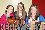 INSTRUMENTS: Aoife Ni? Shithigh, Martina Ni? Chonchu?ir agus Niamh Nic Gearailt who played and rehearsed befor the Feis Chiarrai? nGaelchola?iste Charra?i at Gaeil Scoil, Tralee on Saturday................................... ....