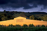 Sunset light on winery, Fetzer Vineyards, East Side Road, near Hopland, Mendocino County, California