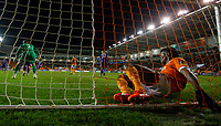 Blackpool's Armand Gnanduillet ends up in the net <br /> <br /> Photographer Alex Dodd/CameraSport<br /> <br /> The EFL Sky Bet League One - Blackpool v Tranmere Rovers - Tuesday 10th March 2020 - Bloomfield Road - Blackpool<br /> <br /> World Copyright © 2020 CameraSport. All rights reserved. 43 Linden Ave. Countesthorpe. Leicester. England. LE8 5PG - Tel: +44 (0) 116 277 4147 - admin@camerasport.com - www.camerasport.com