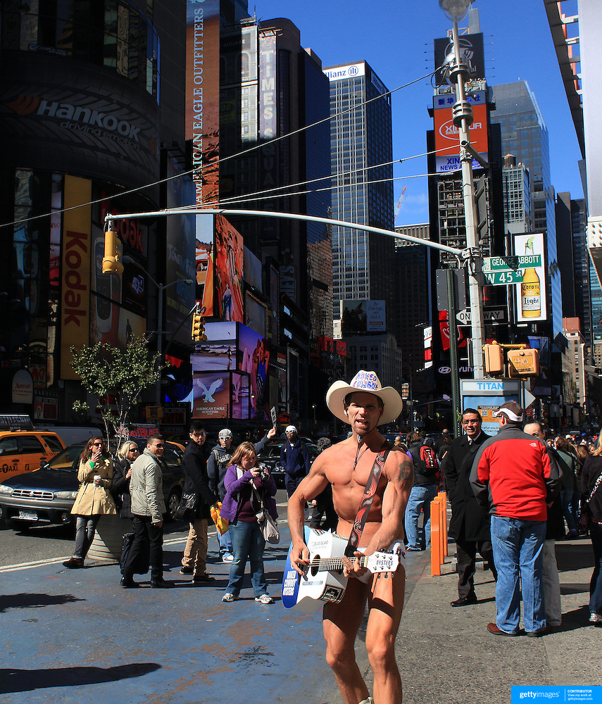 Naked Cowboy takes to Times Square in the middle of the
