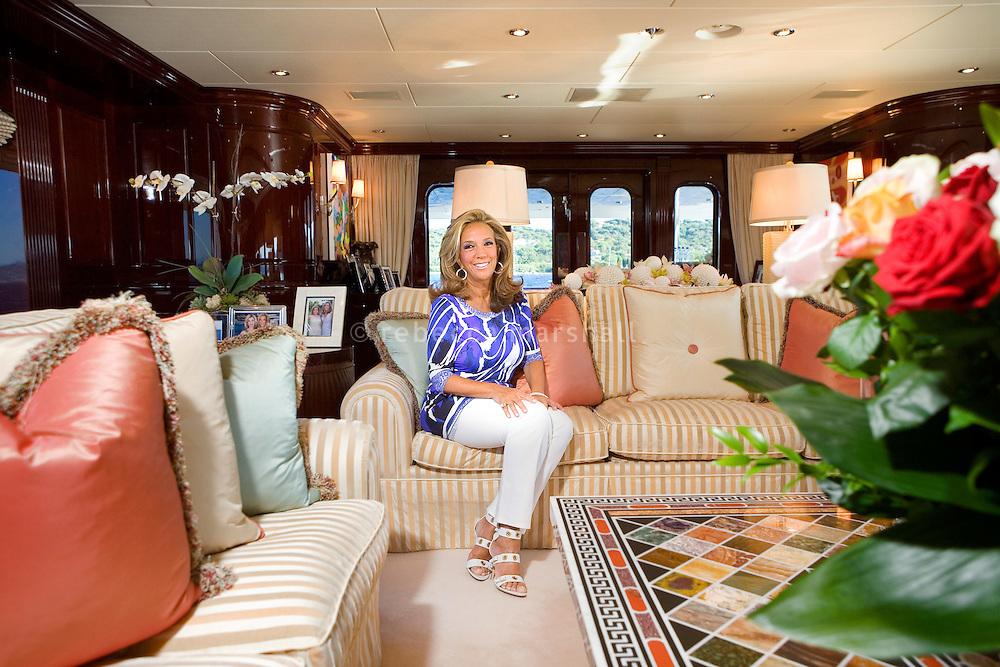 Denise Rich, on board Lady Joy, moored off St Tropez, France, 23rd July 2010