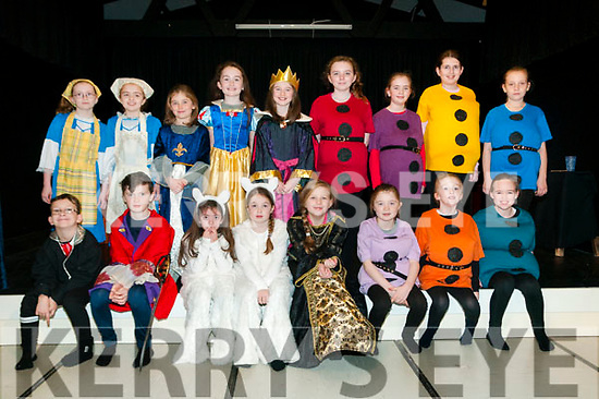 "Ballylongford Drama: The cast of ""Snow White & the Seven Dwarfs"" pictured in dress rehearsal at Ballylongford Community centre on Saturday last. Front: Ryan Kennelly, Joseph Gilbert, MAIRE mULVIHILL, brid-Anne Stack, Niamh Enright, Eileen Gilbert, Aoibhinn Stack & Kate Mulvihill. Back: Sophie White, Amy Dunlee, Hannah Collins, Maire Spaight, Abbie Collins, Samantha O'Sullivan, Muirne Donoghue, eimear O'Shea & Kate Kennelly."