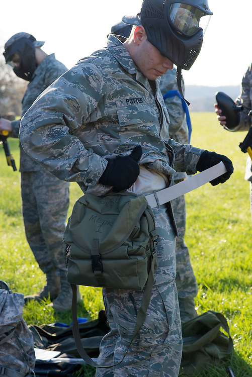 Cadet Potter serves as the blue teams medic for the Airforce ROTC's mobile exercise on April 16, 2016. Photo by Ohio University / Kaitlynn Stone