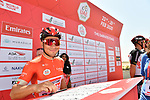 Caleb Ewan (AUS) Lotto-Soudal at sign on before Stage 3 The Emirates Stage of the UAE Tour 2020 running 184km from Al Qudra Cycle Track to Jebel Hafeet, Dubai. 25th February 2020.<br /> Picture: LaPresse/Massimo Paolone   Cyclefile<br /> <br /> All photos usage must carry mandatory copyright credit (© Cyclefile   LaPresse/Massimo Paolone)