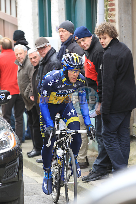 Riders including Anders Lund (Team Saxo-Tinkoff) climb Casselberg for the 2nd time passing through the old town of Cassel during the 75th edition of Gent-Wevelgem, France, 24th  March 2013 (Photo by Eoin Clarke 2013)