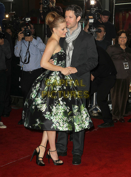 Amy Adams, Darren Le Gallo.AFI FEST 2012 'On The Road' gala screening, Grauman's Chinese Theatre, Hollywood, California, USA..3rd November 2012.full length dress black strapless green floral print ankle strap shoes black suit jacket jeans denim grey gray scarf side couple profile .CAP/ADM/KB.©Kevan Brooks/AdMedia/Capital Pictures.