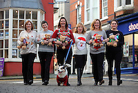 Pictured L-R: Local residents wearing Christmas jumpers Donna Bentley, Del Bennett, Linda Adams-Lewis, Christine Newman with her Cardigan Corgi dog, Rhian Blackford and Ruth Martin in Cardigan town centre<br /> Re: The town of Cardigan in west Wales will be temporarily renamed Jumper tomorrow (Thursday).