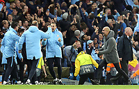 Manchester City manager Josep Guardiola celebrates before Raheem Sterling's fifth goal was disallowed following a VAR review<br /> <br /> Photographer Rich Linley/CameraSport<br /> <br /> UEFA Champions League - Quarter-finals 2nd Leg - Manchester City v Tottenham Hotspur - Wednesday April 17th 2019 - The Etihad - Manchester<br />  <br /> World Copyright © 2018 CameraSport. All rights reserved. 43 Linden Ave. Countesthorpe. Leicester. England. LE8 5PG - Tel: +44 (0) 116 277 4147 - admin@camerasport.com - www.camerasport.com