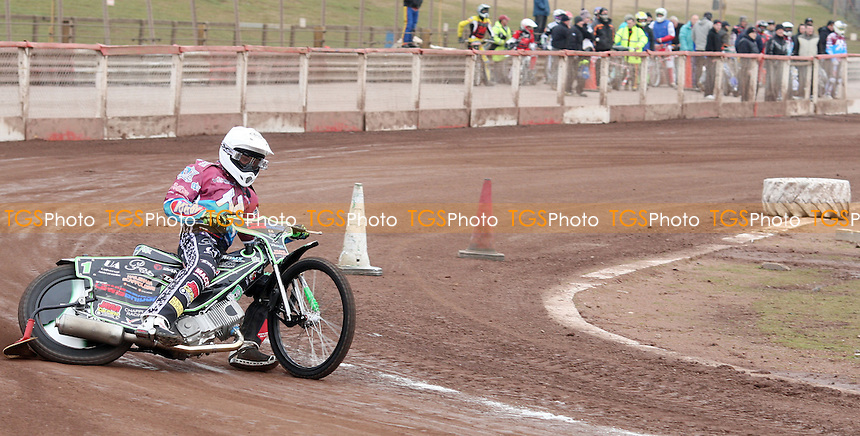 Lewis Bridger of Lakeside Hammers goes past part of the track that had to be sectioned off during practice - Lakeside Hammers Practice Day at the Arena Essex Raceway, Pufleet - 21/03/13 - MANDATORY CREDIT: Rob Newell/TGSPHOTO - Self billing applies where appropriate - 0845 094 6026 - contact@tgsphoto.co.uk - NO UNPAID USE.