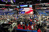 """Delegates await the arrival of Chairman of the Republican National Committee Reince Priebus to convene the opening session of the 2012 Republican National Convention in Tampa Bay, Florida on Monday, August 27, 2012.  Due to the effects of Hurricane Isaac, it was immediately recessed """"subject to the call of the chair""""..Credit: Ron Sachs / CNP.(RESTRICTION: NO New York or New Jersey Newspapers or newspapers within a 75 mile radius of New York City)"""