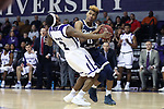 HIGH POINT, NC - JANUARY 06: Charleston Southern's Christian Keeling (right) and High Point's Austin White (2). The High Point University of Panthers hosted the Charleston Southern University Buccaneers on January 6, 2018 at Millis Athletic Convocation Center in High Point, NC in a Division I men's college basketball game. HPU won the game 80-59.