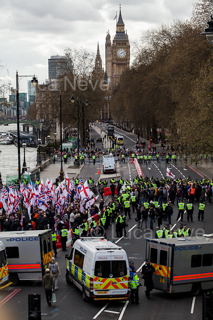 (On the L) Britain First, (On the R) EDL, (In the background) Antifascist groups.  <br />