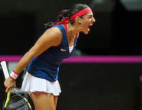 Arena Loire,  Trélazé,  France, 16 April, 2016, Semifinal FedCup, France-Netherlands, Caroline Garcia (FRA) wins and equals the score 2-2<br /> Photo: Henk Koster/Tennisimages