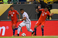 Chicago, IL - Wednesday June 22, 2016: Gonzalo Jara, Roger Martinez, Erick Pulgar during a Copa America Centenario semifinal match between Colombia (COL) and Chile (CHI) at Soldier Field.