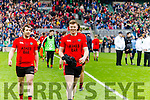 Vincent Hoare, Calvin Teahan Glenbeigh Glencar players celebrate their victory over Rock Saint Patricks in the Junior Football All Ireland Final in Croke Park on Sunday.