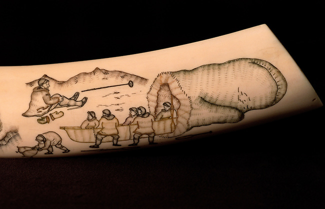 Engraved walrus tusk 'Legend of the Giant Logolin' (1976) by Emkul. Uelen, Chukotka, Siberia, Russia.