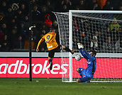 5th February 2019, Rodney Parade, Newport, Wales; FA Cup football, 4th round replay, Newport County versus Middlesbrough; Dimitrios Konstantopoulos of Middlesbrough keeps Padraig Amond of Newport County close range shot out keeping it 0-0
