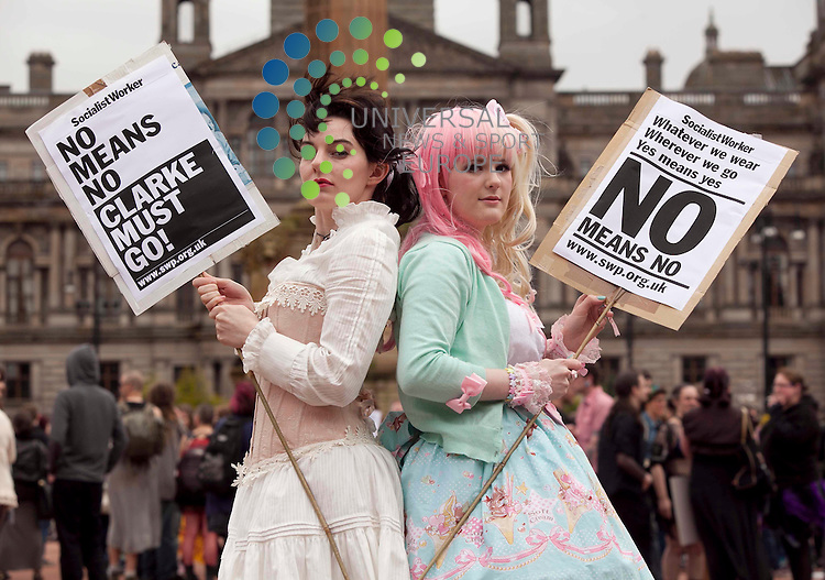 """George Square Slutwalk Glasgow, Lisa Connolly (pink Hair) 17, and Christina Murray 22 Partick take part in slutwalk a response to the Toronto policeman's remark women would.stop getting raped if they """"stopped dressing like sluts"""", and the recent Controversial by the Justice minister Ken Clarke .Picture: Johnny Mclauchlan Universal News and Sport (Europe). 04/06/2011"""