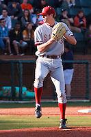 NASHVILLE, TENNESSEE-Feb. 26, 2011:  Scott Snodgress of Stanford prepares to pitch against Vanderbilt, during a game at Vanderbilt University in Nashville, Tennessee.  Vanderbilt defeated Stanford 8-7.