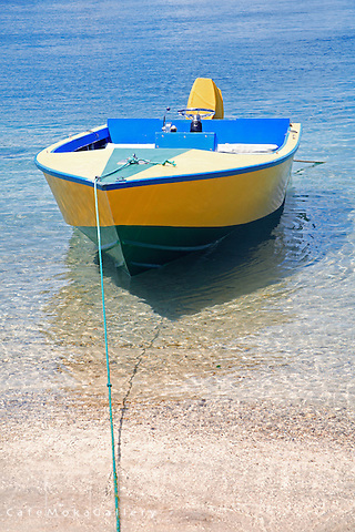 Small local boat painted in national colours moored on the shore Bequia