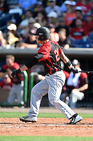 Tampa Spartans outfielder Zion Bell (21) at bat during an exhibition game against the Philadelphia Phillies on March 1, 2015 at Bright House Field in Clearwater, Florida.  Tampa defeated Philadelphia 6-2.  (Mike Janes/Four Seam Images)