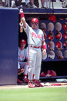 Philadelphia Phillies first baseman John Kruk during a game against the San Diego Padres circa 1992 at San Diego Jack Murphy Stadium  in San Diego, California.  (MJA/Four Seam Images)