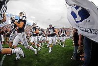 Sept. 19, 2009; Provo, UT, USA; BYU Cougars players enter the field prior to the game against the Florida State Seminoles at LaVell Edwards Stadium. Florida State defeated BYU 54-28. Mandatory Credit: Mark J. Rebilas-