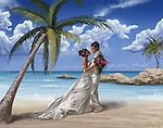 Illustrative image of newly wedded couple embracing on beach