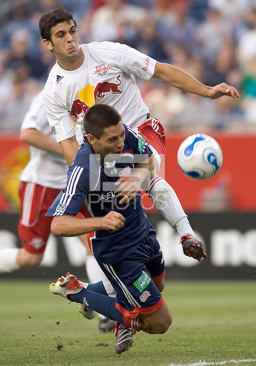 Clint Dempsey heads ball on net...no goal. The New England Revolution defeat Red Bull NY, 3-2, July 1at Gillette Stadium.
