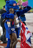 Mo FARAH of GBR celebrates his win in the Men's 3000m during The Sainsbury's Anniversary Games Diamond League Event at the Olympic Park, London, England on 24 July 2015. Photo by Andy Rowland.