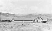 West elevation view of Ridgway station with C-18 #315 working house track.<br /> RGS  Ridgway, CO  Taken by Best, Gerald M. - 7/1/1940