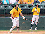 SIOUX FALLS, SD - MAY 24:  John Skrbec #11 from NDSU watches the ball drop in for a base hit against Western Illinois in the third inning of the 2014 Summit League Baseball Championship game Saturday afternoon at the Sioux Falls Stadium. (Photo by Dave Eggen/Inertia)
