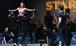 Taylor Louderman and Kyle Selig with the 'Mean Girls' cast performing at the United Airlines Presents: #StarsInTheAlley Produced By The Broadway League on June 1, 2018 in New York City.