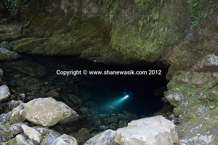 The Riwaka Resurgence is the source of the Riwaka river in the Kahurangi National Park. The water flows clear and is a adventurous dive for those suitably qualified. The second chamber holds a large flow stone and formations cover the cave, conditions can change quickly with its proximity to the Takaka Hill any rainfall can accumulate quickly and turn a small flow into a torrent.