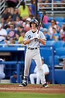 Tampa Tarpons center fielder Ben Ruta (6) at bat during a game against the Dunedin Blue Jays on June 2, 2018 at Dunedin Stadium in Dunedin, Florida.  Dunedin defeated Tampa 4-0.  (Mike Janes/Four Seam Images)