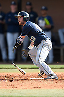 Catcher Cole MacLaren (43) of the Pittsburgh Panthers bats in a game against the University of South Carolina Upstate Spartans on Saturday, February 24, 2018, at Cleveland S. Harley Park in Spartanburg, South Carolina. Pittsburgh won, 3-1. (Tom Priddy/Four Seam Images)