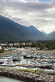 USA Alaska, Sitka, view of the Sitka harbor from port where many commercial fishing vessels, recreation and charter vessels are moored
