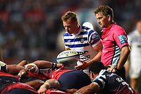 Chris Cook of Bath Rugby looks to put the ball into a scrum. Gallagher Premiership match, between Bristol Bears and Bath Rugby on August 31, 2018 at Ashton Gate Stadium in Bristol, England. Photo by: Patrick Khachfe / Onside Images